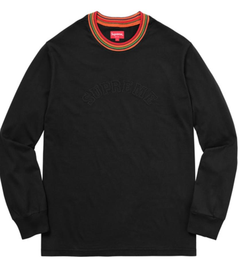 Supreme Black Men S Striped Rib Long Sleeve T Shirt Tee