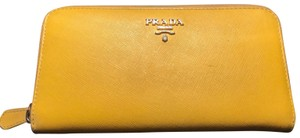 "Prada Prada Saffiano Yellow Zip Around Long Wallet Size 7.5"" x 4"""
