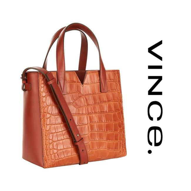 Item - Signature Baby V Croc-embossed Tote Whiskey Brown Leather Cross Body Bag