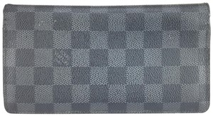 Louis Vuitton #17019 Damier Graphite Brazza Long Bifold Bi Fold Wallet zip zipper
