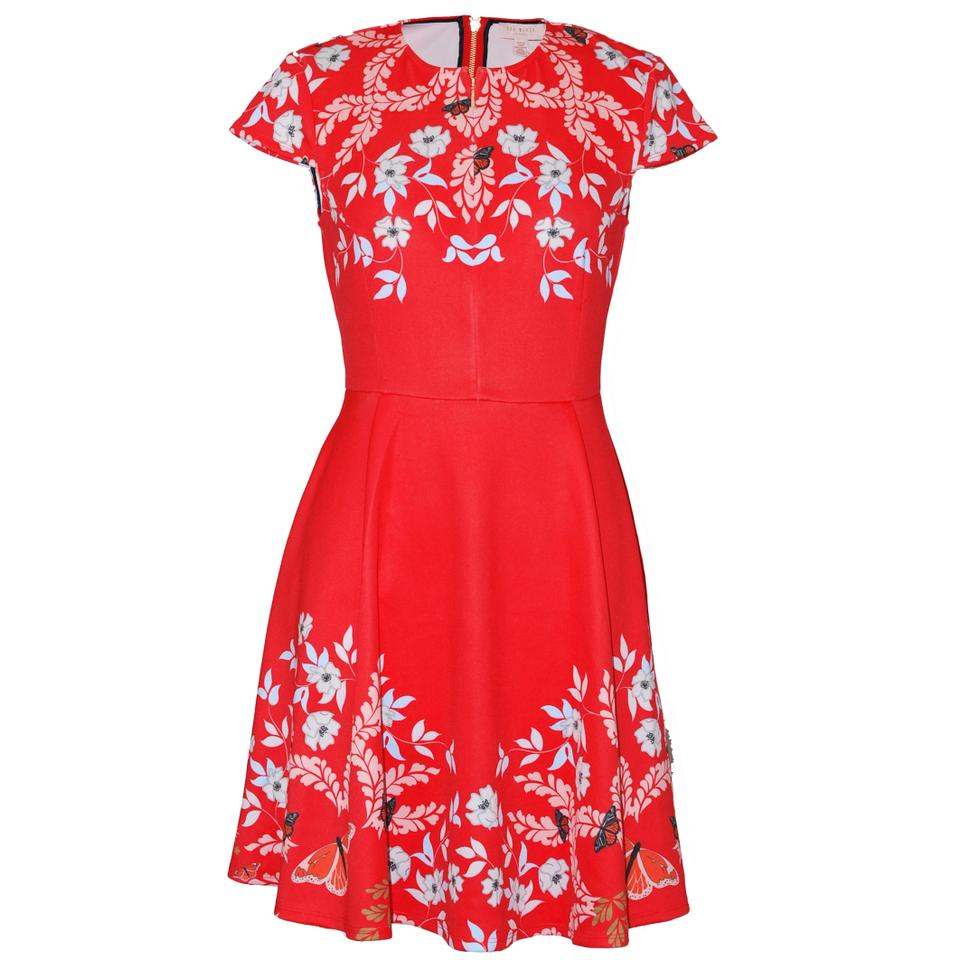 5e6cd23d2 Ted Baker Bright Red Saydi Kyoto Floral Skater Short Casual Dress ...