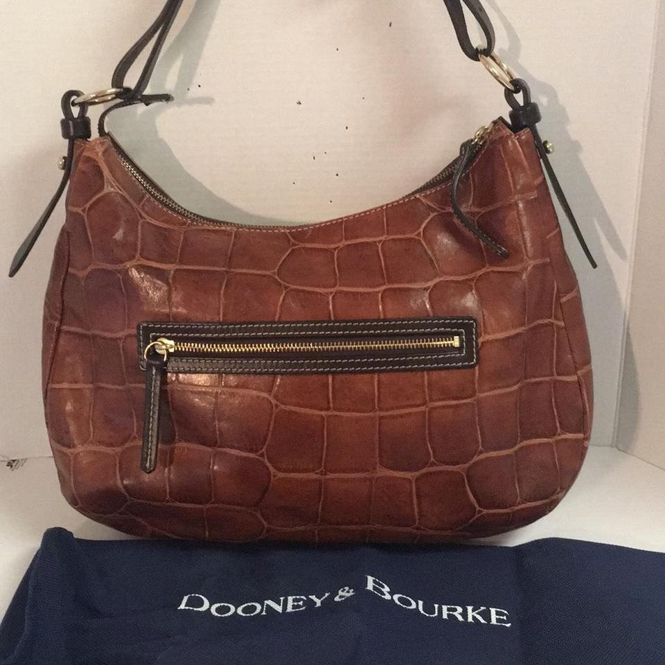Dooney   Bourke Croc Embossed Front Pocket Dark Brown Leather Hobo ... 8076758928aca