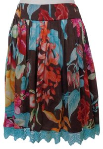 Carmen Marc Valvo Silk Silk Silk Flowy Skirt Brown