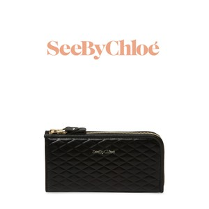 See by Chloé See by Chloe Black Quilted Leather Long Zip Wallet