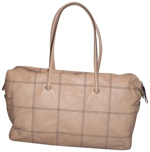 Adrienne Vittadini Classic Perforated Leather Handbag Chic Satchel in taupe
