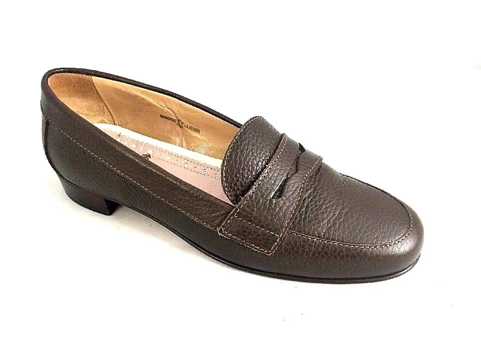 249726a64d5 Brooks Brothers Brown Pebble Leather Penny Loafer Block Low Pumps ...