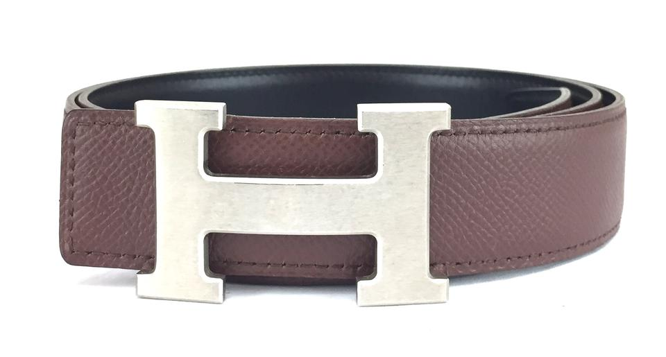 62798ee0e14c7 Hermès 32Mm Brushed Silver H Reversible Belt leather Size 90 Image 0 ...