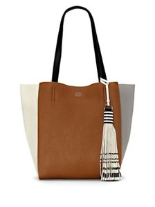 Vince Camuto Colorblock Leather Tote in Chestnut Brown/Black/White/Gray