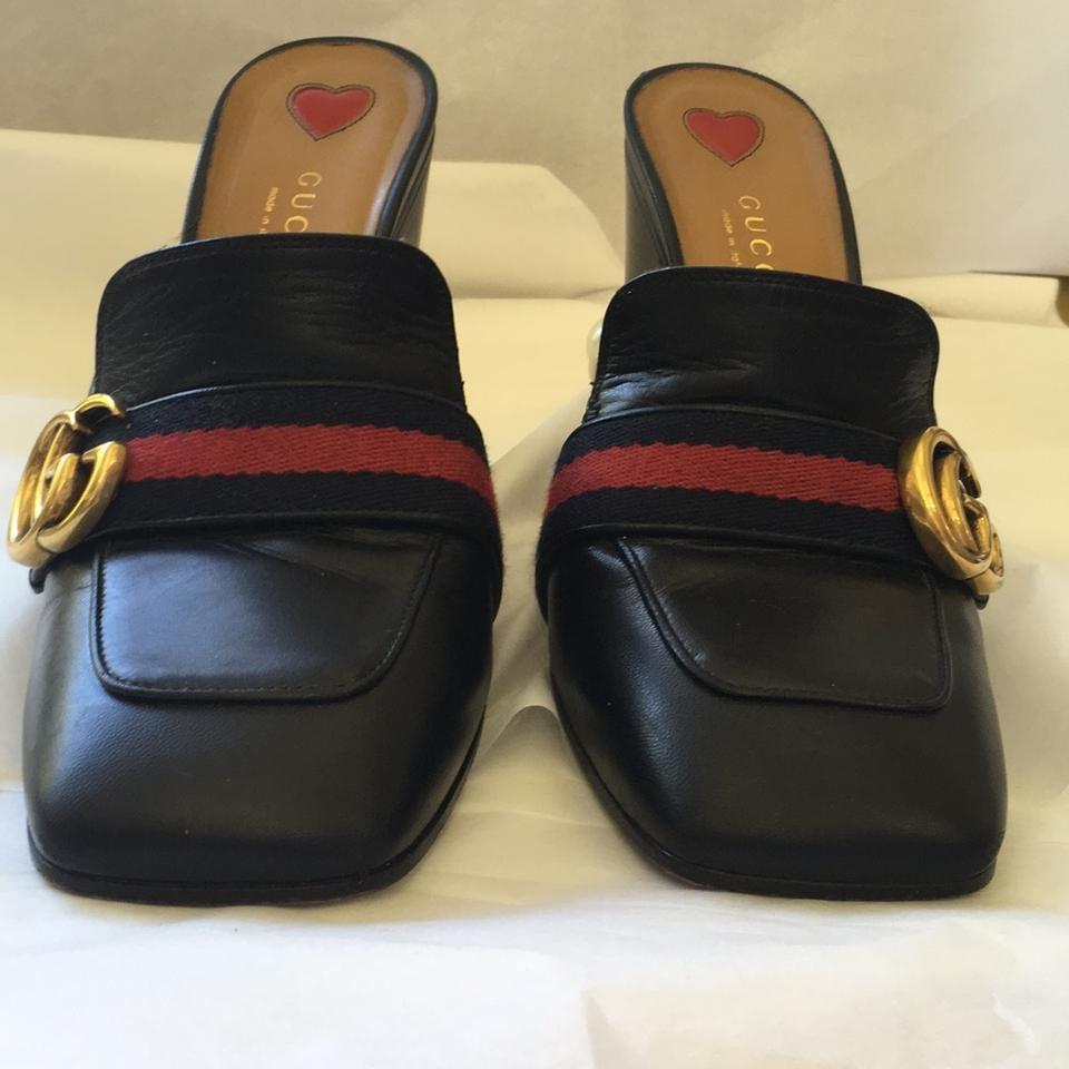 a8cabd5ac43 Gucci Black Marmont Peyton 38.5 Gg Leather Pearl Web Mules Slides Size US  8.5 Regular (M