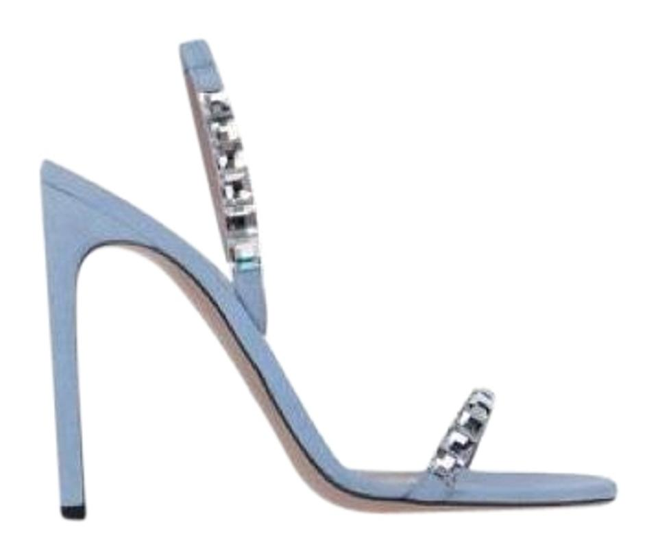 53917b0346fd Gucci Light Blue Mallory Baby Suede Crystal Embellished Strappy Heel Formal  Sandals