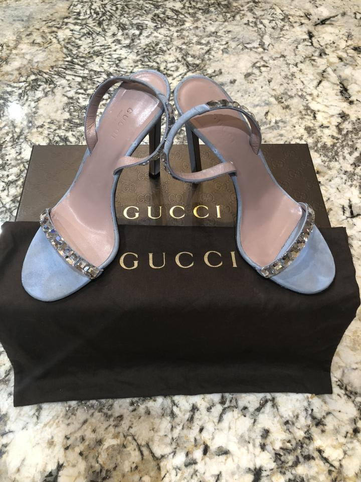 ec1489359579 Gucci Light Blue Mallory Baby Suede Crystal Embellished Strappy Heel ...