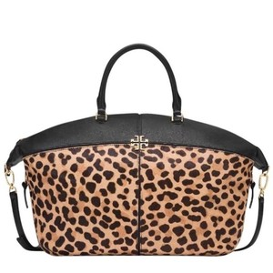 Tory Burch Animal Print Calf Hair Leather Tote in Leopard black
