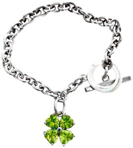 Red Envelope STERLING SILVER CHAIN BRACELET WITH 4 LEAF CLOVER PERIDOT CHARM 7.5""