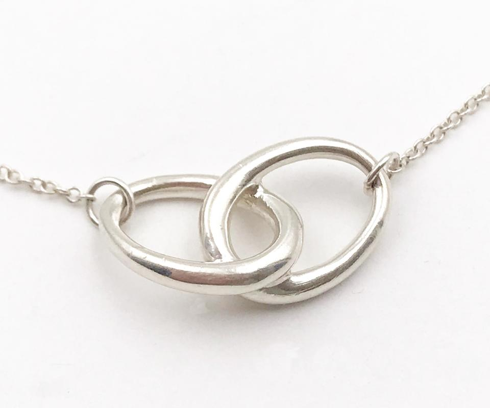 necklace diamond double circle ring
