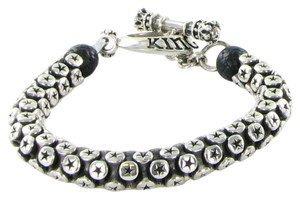 King Baby Star Tri-Bead Bracelet w/ Toggle Clasp Sterling Silver K42-8178