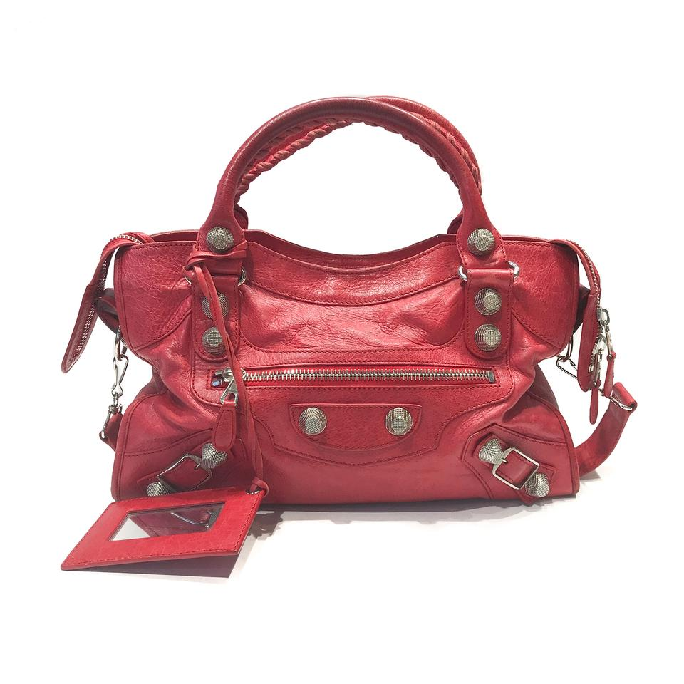 Balenciaga Leather 21 Bag City Shoulder Red Giant Lambskin rXwUcw5q