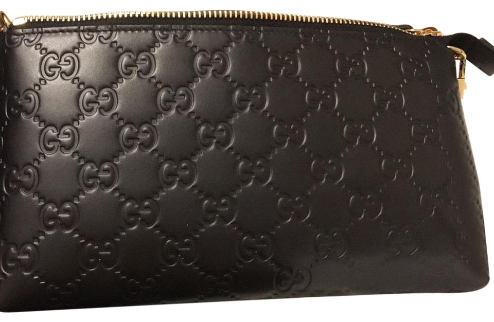 1d390028098 Gucci Signature Wrist Wallet Black Leather Wristlet - Tradesy