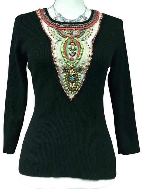 Item - Blouse 3/4 Sleeve Scoop Neck Embroidered Black Sweater