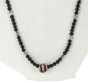 """King Baby Lava 3mm Bead Necklace 24"""" w/ Raven Claw, Red Coral Sterling Silver"""