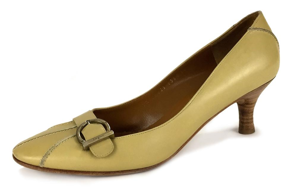 907a1947fd9 Salvatore Ferragamo Classy Business Work Short Heel Silver Hardware Yellow  Pumps Image 0 ...