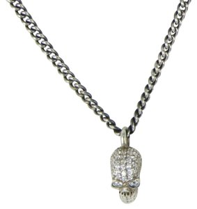 King Baby King Baby Queen Small Skull Pave CZ Necklace Sterling Silver K10-9077