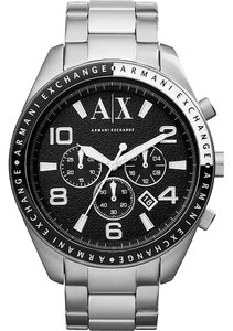 A|X Armani Exchange Silver Black Stainless Steel Chronograph AX1271 Men's Watch