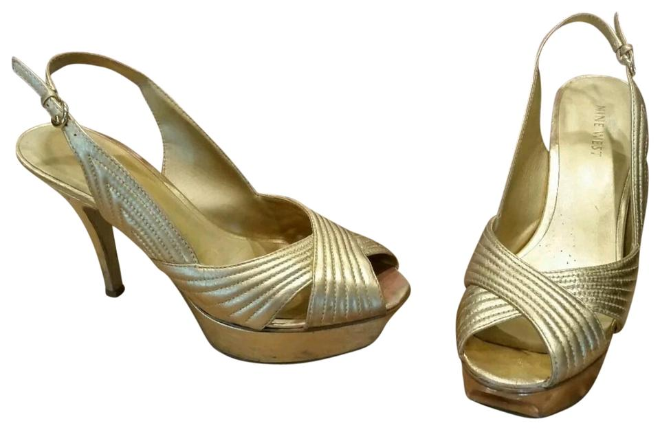 41fab2b313e Nine West Gold Leather Stilettos Heels Pumps Open Toe Strappy Platforms