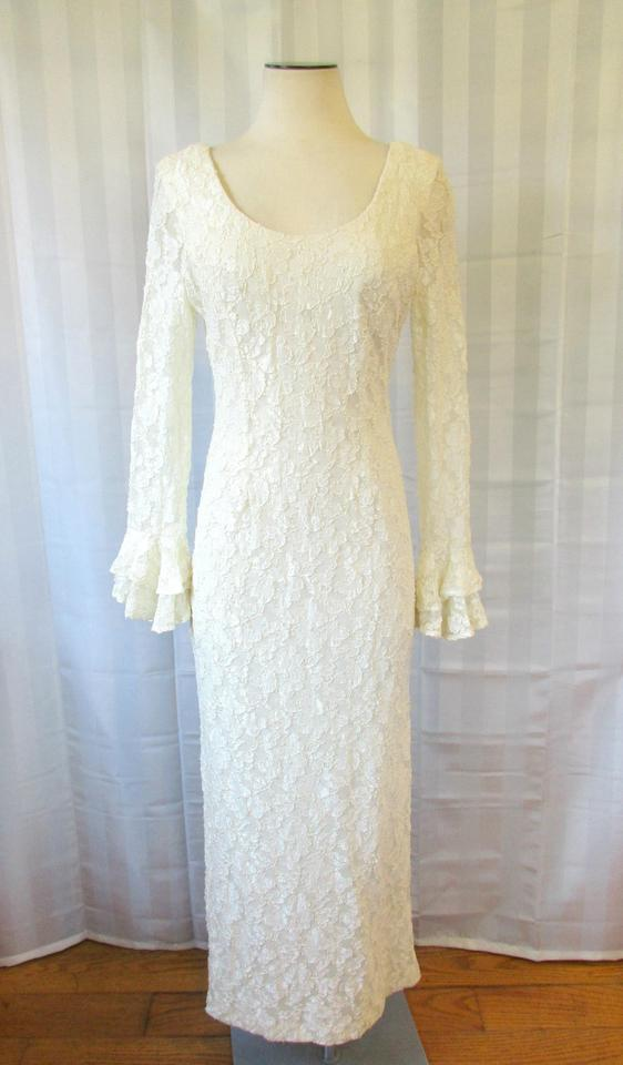 Lew Magram Ivory Vintage Lace Maxi By Long Formal Dress Size 10 (M ...
