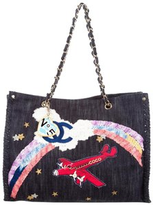 Chanel Airplanes Denim Jean Tote in Blue