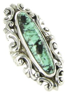 King Baby Baroque Lace Ring New Lander Turquoise Sterling Silver Sz 7