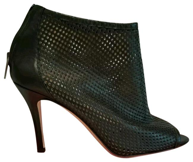 Item - Black New Leather Perforated High Heel Booties Pumps Sandals Size EU 39 (Approx. US 9) Regular (M, B)