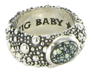King Baby StingRay Texture Ring TopHat Spotted Turquoise K20-5875 Sz 10