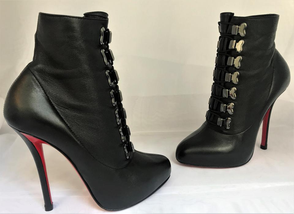 Red Boots Louboutin Lace Leather Up Booties Troopista Lady Knee Black Christian Toe High 36 5 Heel It Platform FPqwC