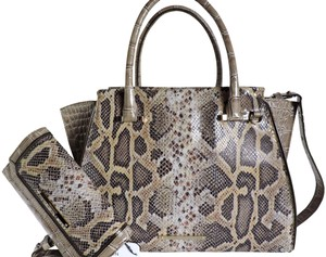 Brahmin Snake/Lizard Emboss Medium/Large Grey/Beige Carryall & Wallet Satchel in Multi Gray/Beige