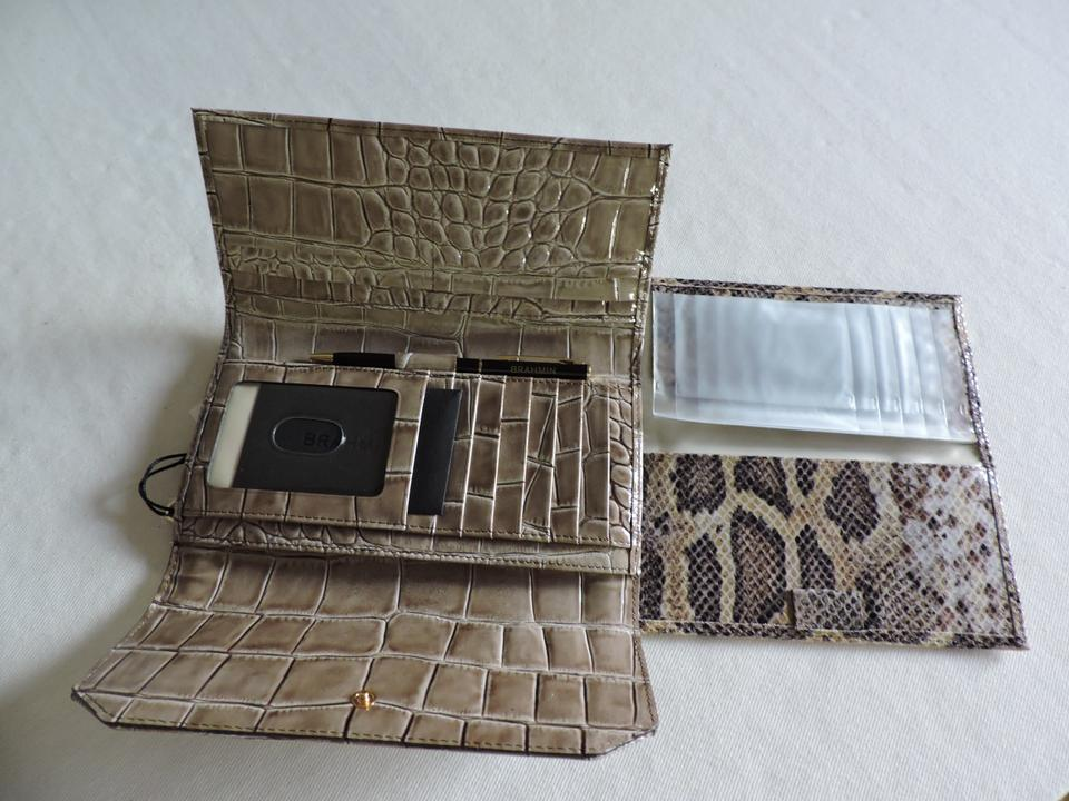 Wallet Beige Leighton Gray checkbook Leather Priscilla Natural Multi Bag Brahmin Genuine Satchel xq8TZHXw
