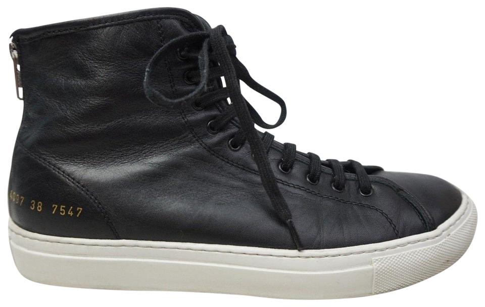 Common Projects Black Tournament High Top Sneakers Leather Sneakers ... 41b5ce2e3