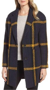 DKNY Plaid Pattern Relaxed Bold Wool Pea Coat