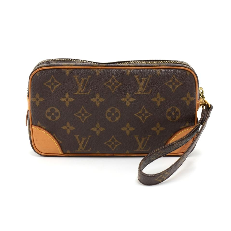 louis vuitton pochette marly dragonne marly vintage pm wristlet brown canvas clutch tradesy. Black Bedroom Furniture Sets. Home Design Ideas