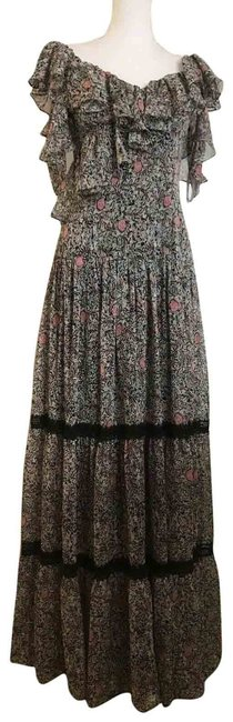 Item - Multicolor Silk Floral Gown Cold Shoulder Ruffles Long Casual Maxi Dress Size 4 (S)