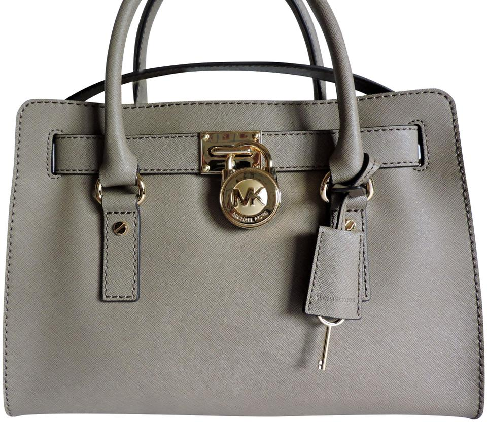 2b705f5e83d28a Michael Kors Saffiano Leather Medium Size Taupe/Greyish Satchels/Shoulder  Satchel in Taupe Brown ...