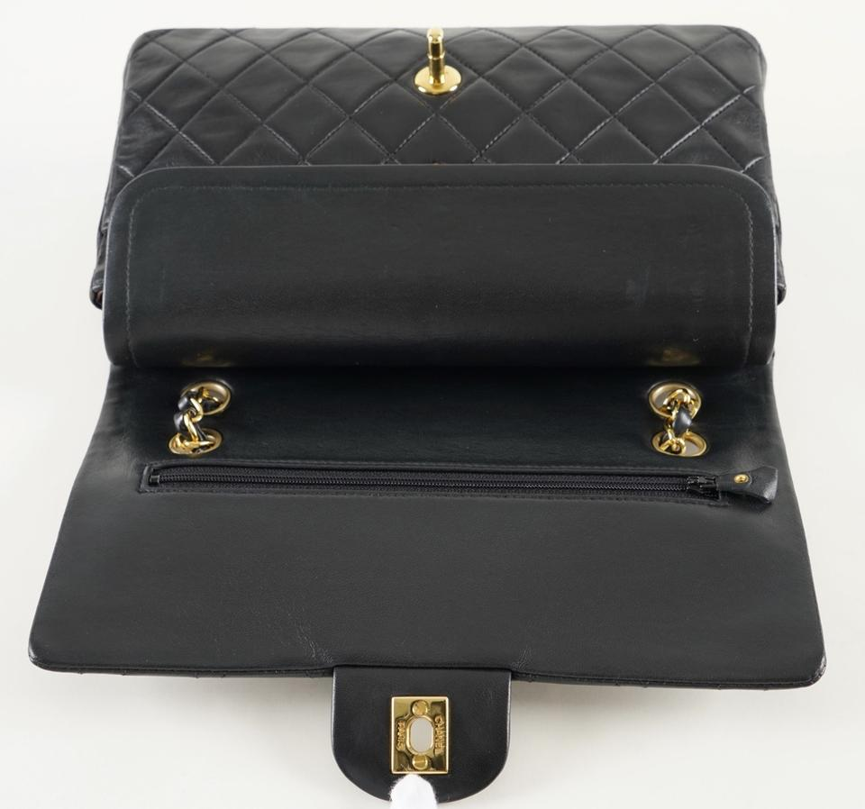 f0ded23fcb38 Chanel Classic Flap Classic Medium Double Quilted Medium Black Lambskin  Leather Shoulder Bag - Tradesy