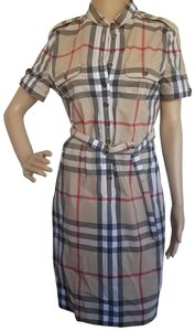 Beige, Red, Black, White Maxi Dress by Burberry Sleeveless Nova Check Plaid Belted House Check