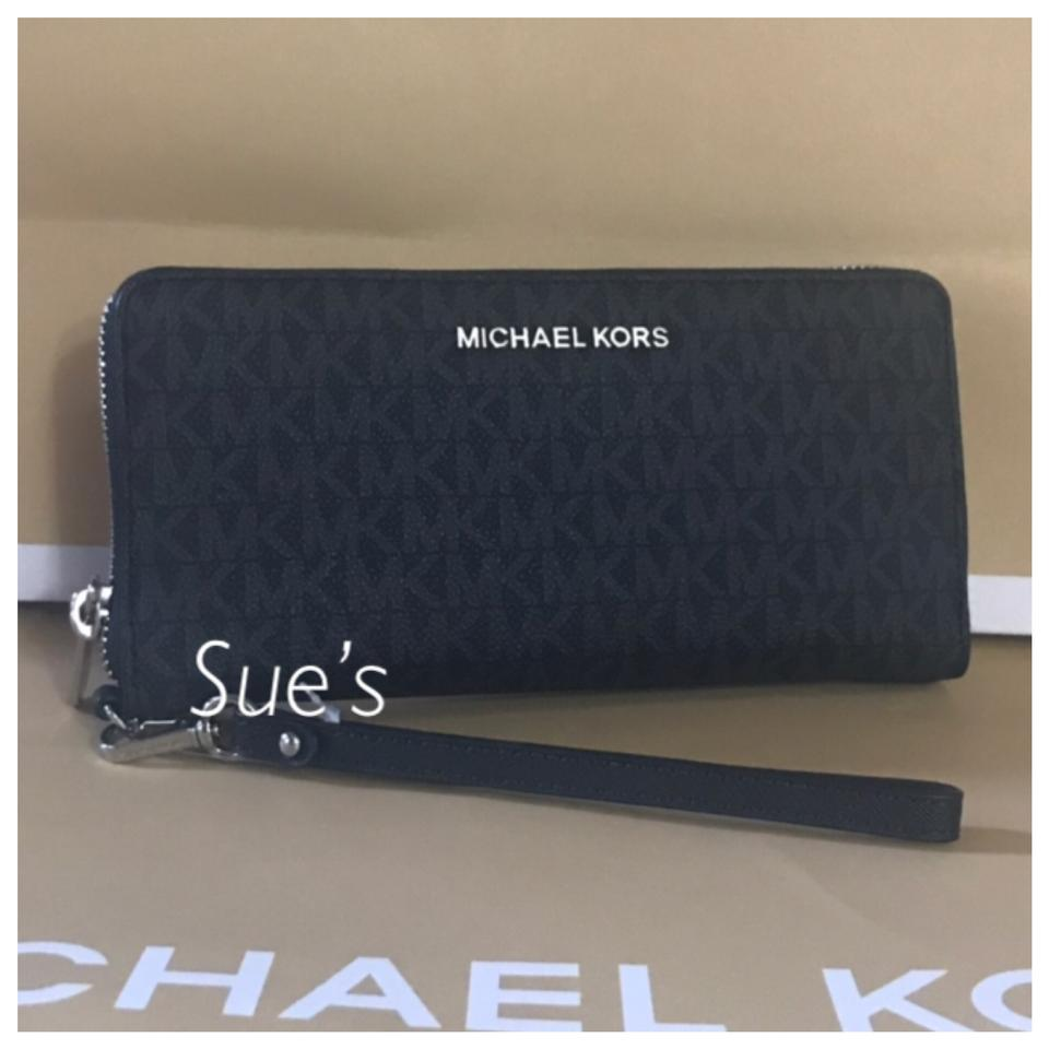 2c28d10f45de Michael Kors nwt mk jet set Travel Continental Wallet- Black Image 0 ...
