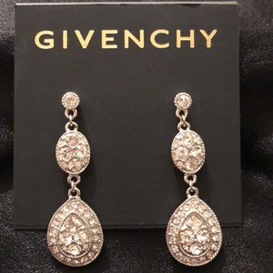 Givenchy Givenchy/ Withe Gold Tone Doble Drops Swarovski Crystals Pierced