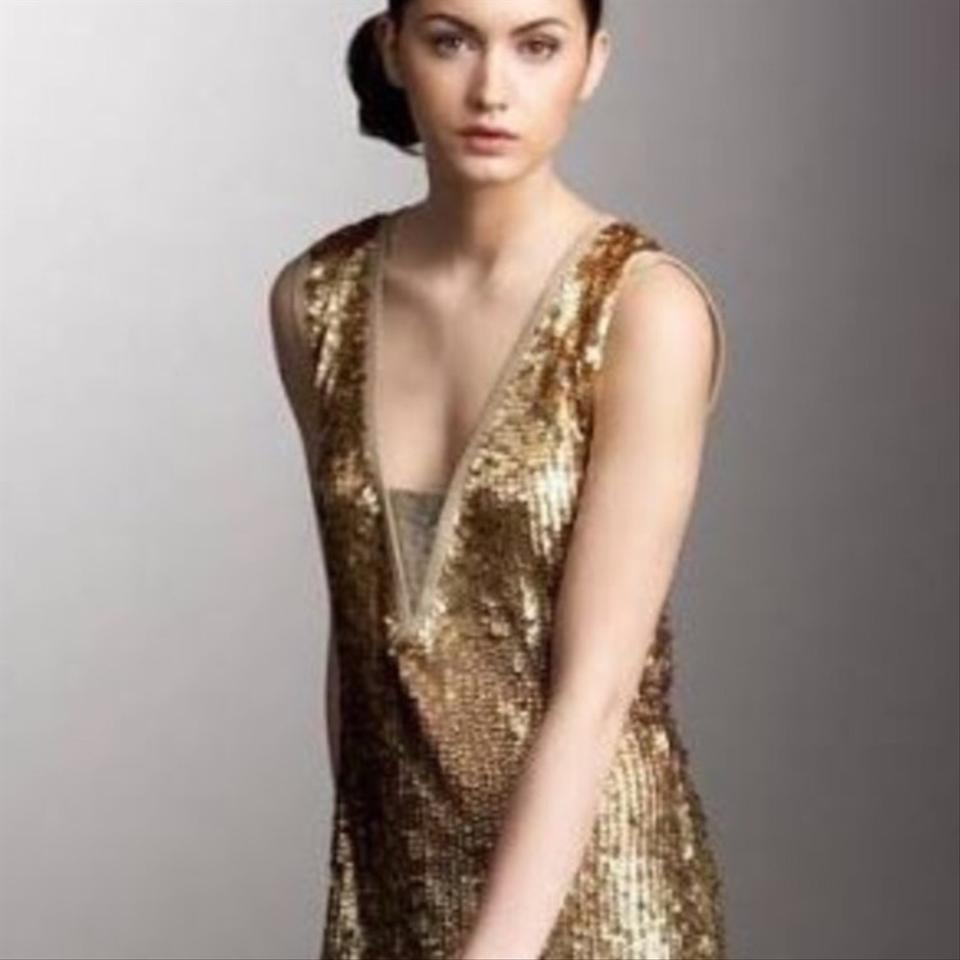 Tory Burch Gold Ombre Sequin Mid-length Cocktail Dress Size 8 (M ...