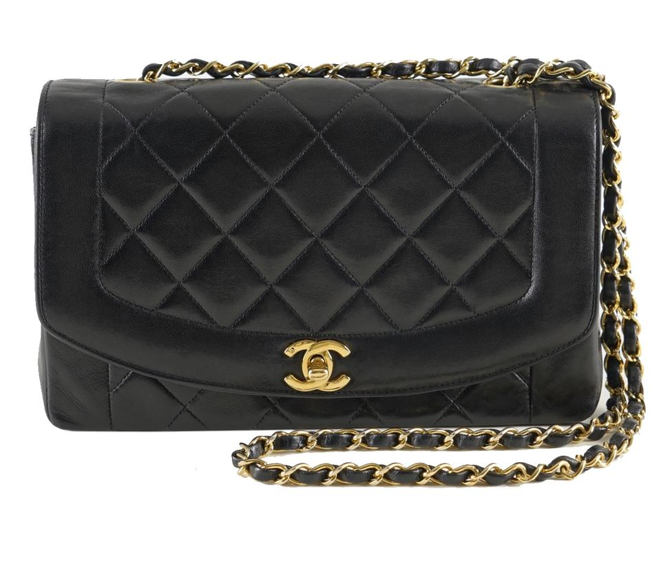 b7917f170ff1 Chanel Diana Quilted Matelasse 25 Cc Logo Chain Black Lambskin Leather  Shoulder Bag