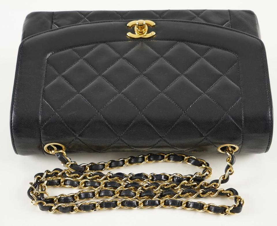 c54e2d380667e3 Chanel Diana Quilted Matelasse 25 Cc Logo Chain Black Lambskin Leather  Shoulder Bag - Tradesy