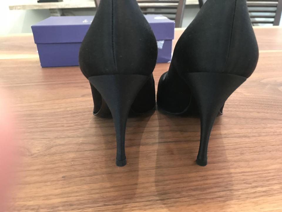 Black Stuart Satin Open Weitzman Pumps Toe xSqw8OFwC