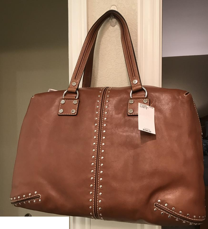 907e90689bd968 Michael Kors Astor Studded Xl Large Weekender Travel Tote Luggage Saddle  Brown Leather Satchel