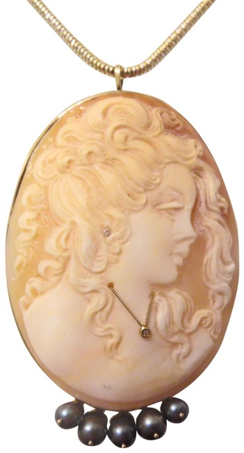 Item - 14k Yellow Gold Rare M+m Scognamiglio 60mm Cameo Pin/Pendant Necklace